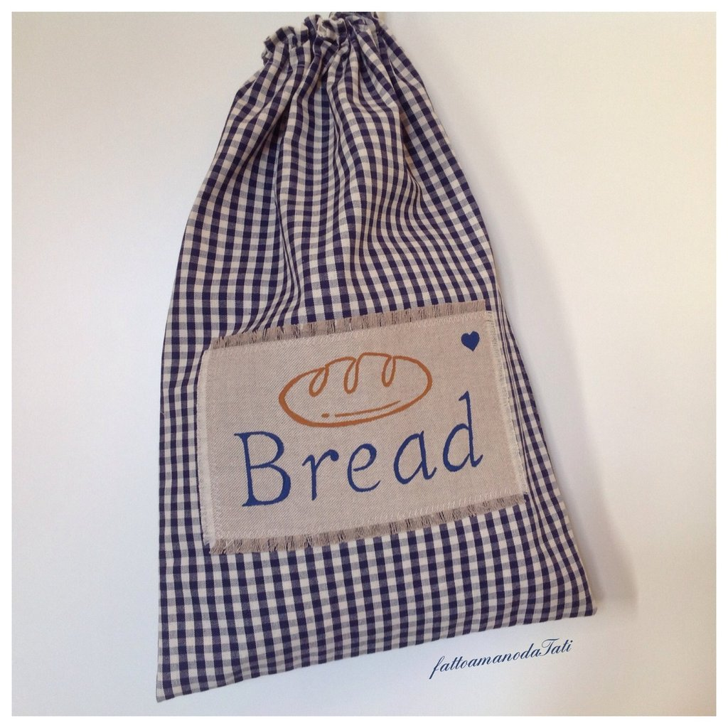 Sacchetto per il pane in cotone a quadretti blu