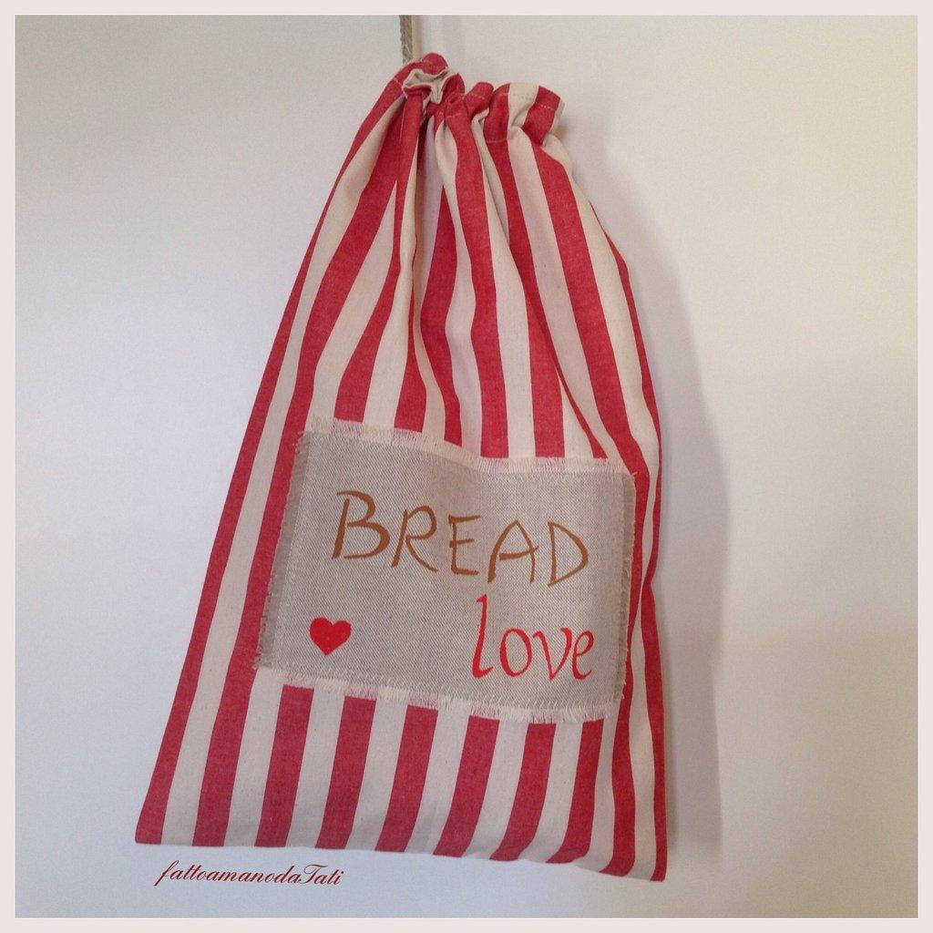 Sacchetto per il pane in cotone a righe rosse