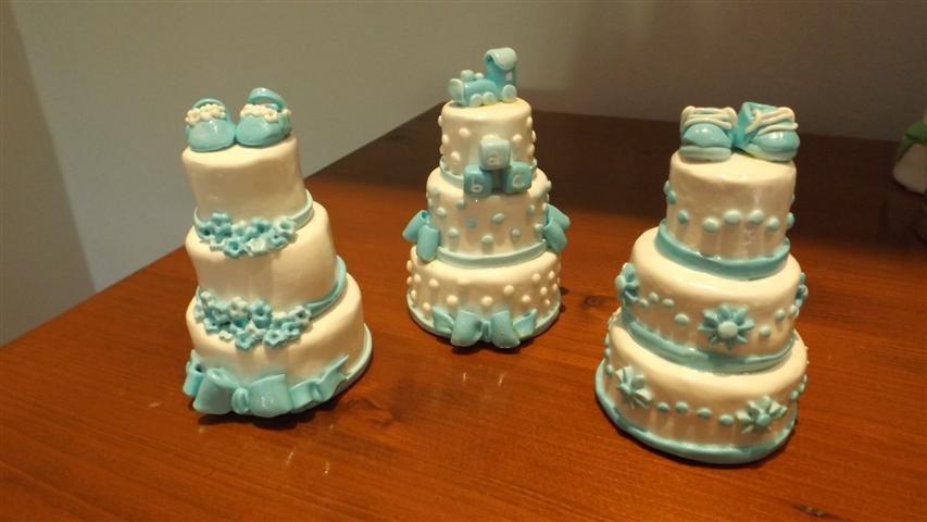 MINI CAKE - battesimo verde - celeste bianco - fimo