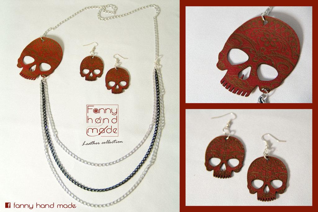 Collana e orecchini in pelle con teschio messicano rosso