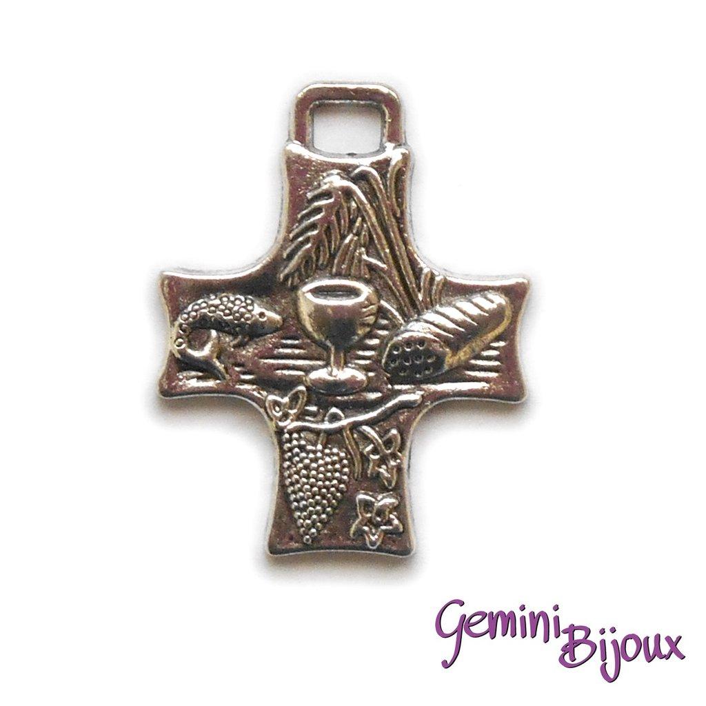 Pendente croce argentata mm. 25x35, antique silver, CR-02