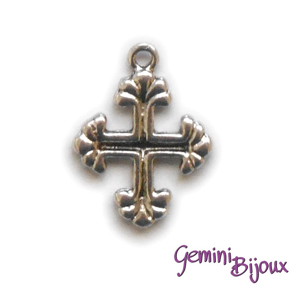 Pendente croce argentata mm. 15x20, antique silver, CR-09