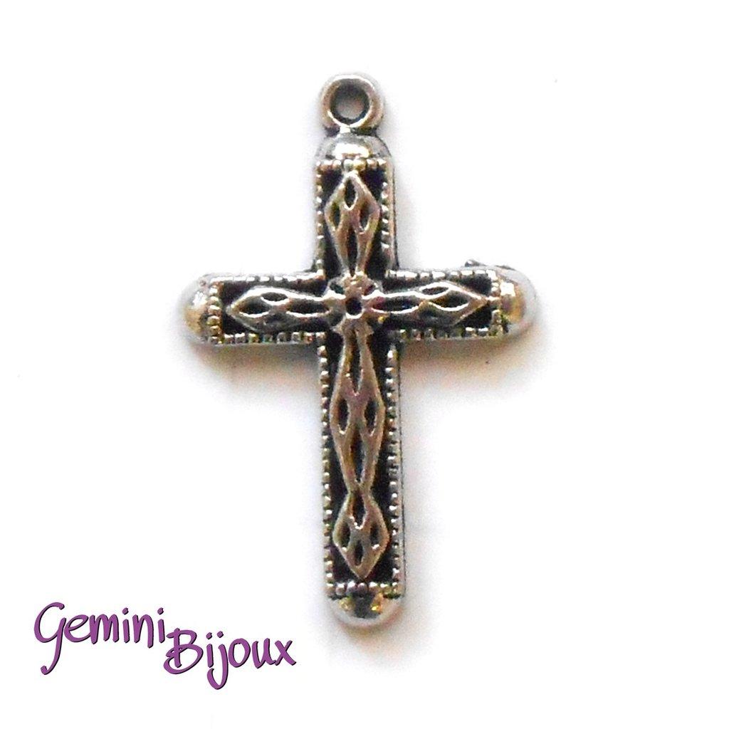 Pendente croce argentata mm. 20x30, antique silver, CR-11