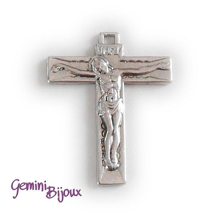 Pendente croce argentata mm. 35x45, antique silver, CR-14