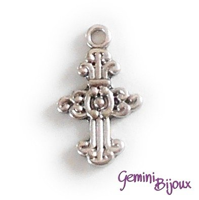 Pendente croce argentata mm. 15x25, antique silver, CR-15
