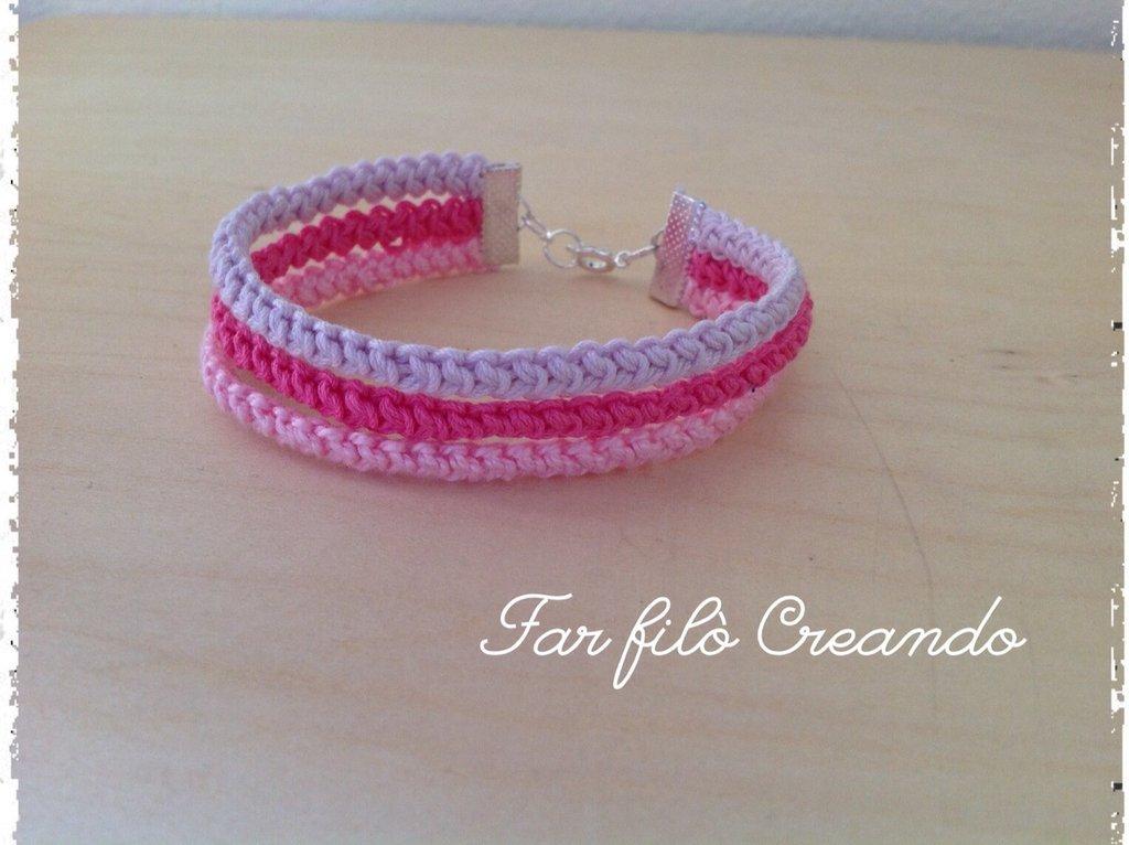 Bracciale ARCOBALENO in cotone rosa a spighetta rumena
