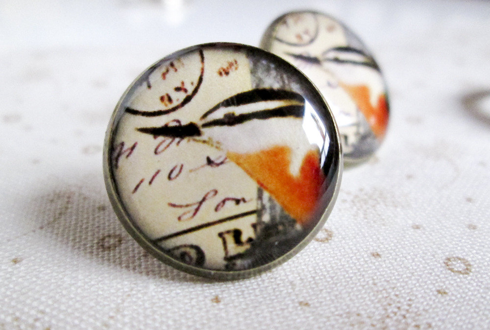 Orecchini in resina - Uccello - stile vintage