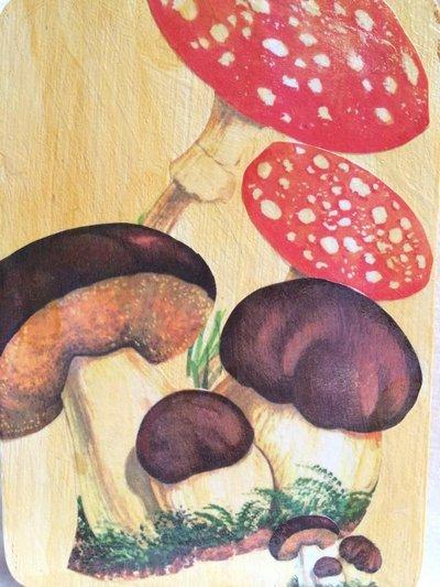 Tagliere in legno con funghi decorato con tecnica decoupage
