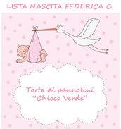 "Lista nascita Federica C. - Torta di pannolini ""Chicco Verde"""