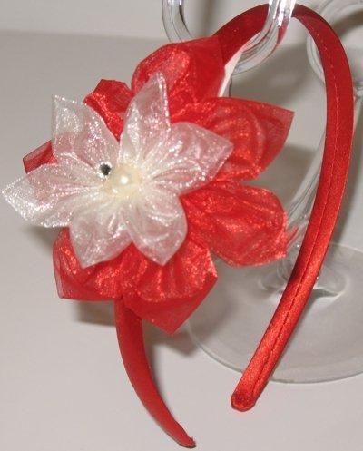 Cerchietto rosso con doppio fiore in tulle rosso e avorio