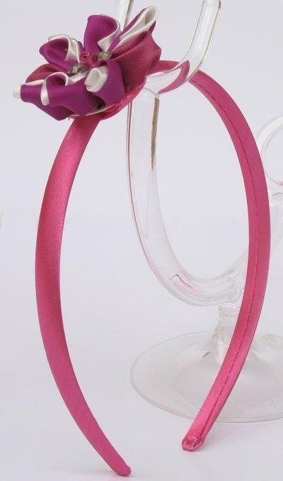 Cerchietto stile kanzashi, fiore con doppi petali bianco e fucsia