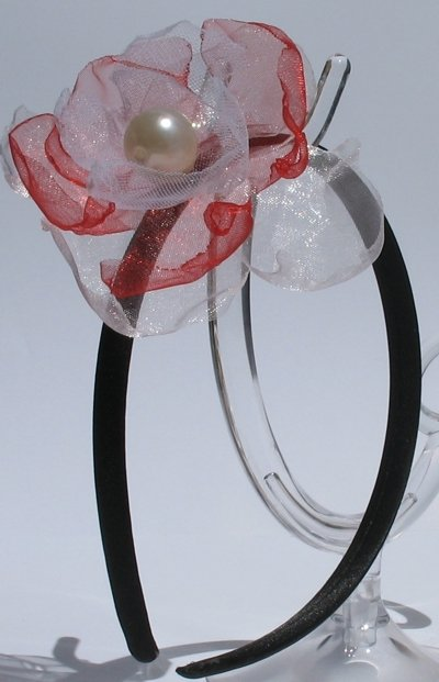 idea Regalo Natale Cerchietto raso con fiore in tulle