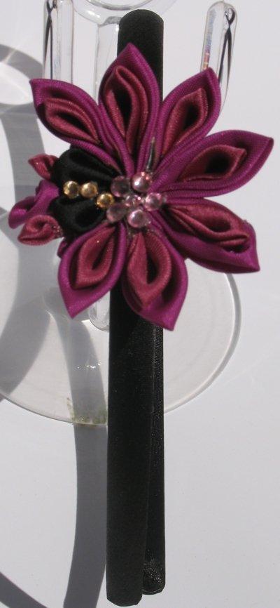 Cerchietto con fiore stile kanzashi