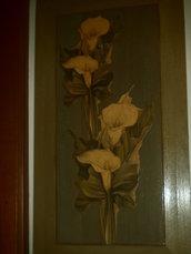 Quadro su antina in legno massello decorazione floreale a Decoupage e Craquelè !