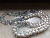 collana perle di fiume e fluorite