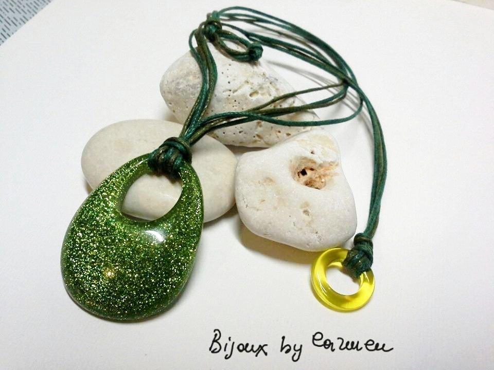 collana con ciondolo verde anallergico