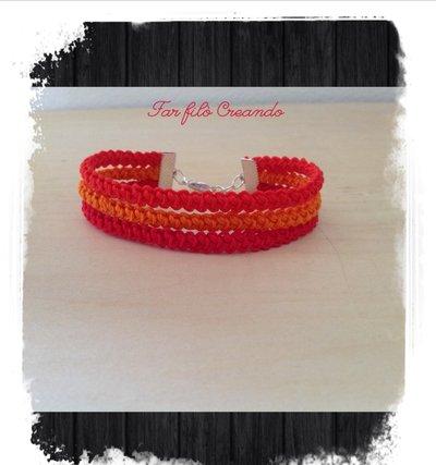 Bracciale ARCOBALENO in cotone rosso-arancio a spighetta rumena