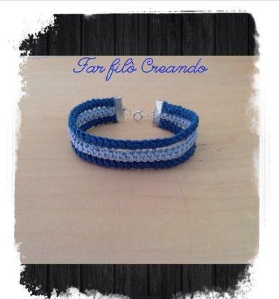 Bracciale ARCOBALENO in cotone azzurro a spighetta rumena