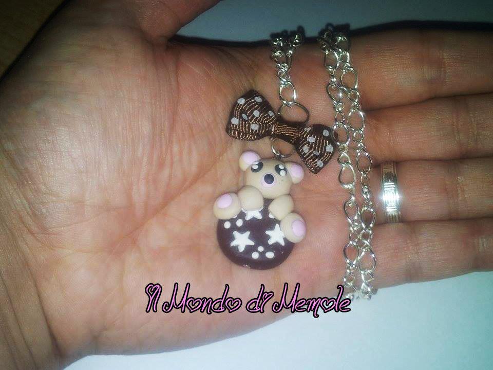 Dolcissima collana con ciondolo orsetto con biscotto pan di stelle