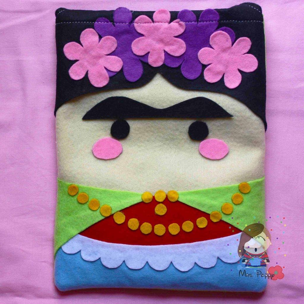 "Cover per tablet in pannolenci ""Frida Kahlo"""