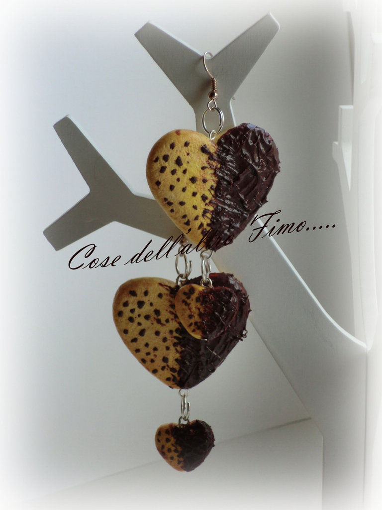 Orecchini Biscotto Cuore Tentazione al Cioccolato con glassatura