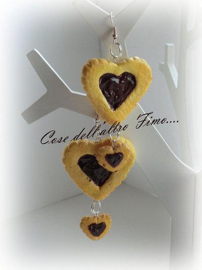 Orecchini Biscotto Cuore con goloso ripieno Tentazione al cioccolato