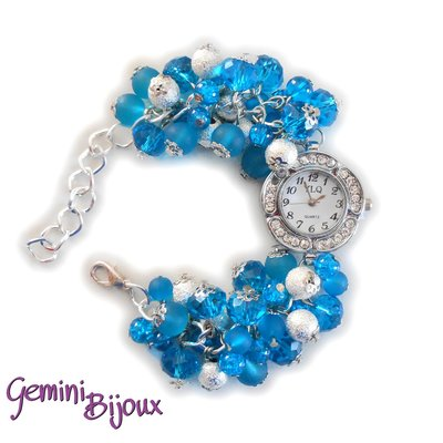 Orologio-bracciale donna con grappolo di perle azzurre, cristalli e stardust
