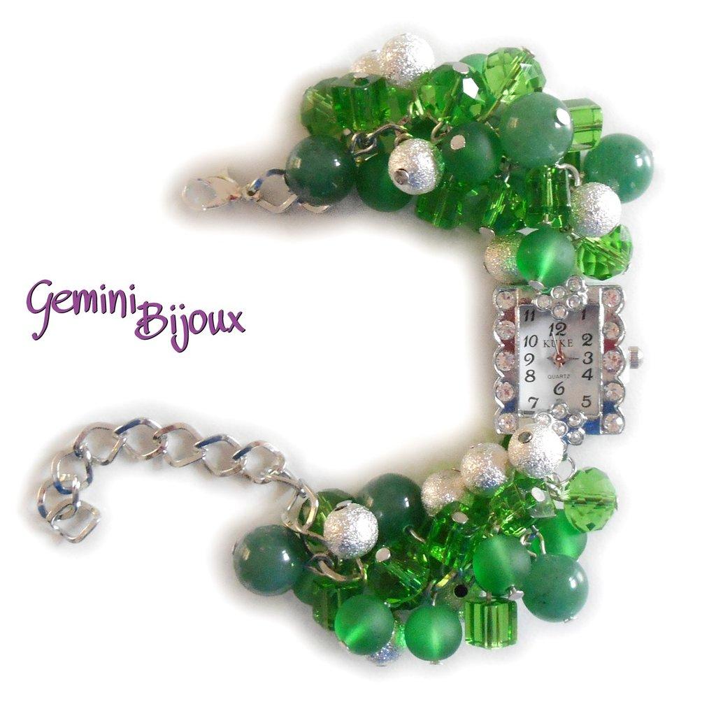 Orologio-bracciale donna con grappolo di perle verdi e avventurina