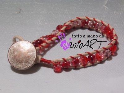 bracciale stile Chan Luu in cotone cerato e perle vetro craquelè