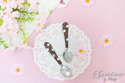 Coppia di cucchiaini decorati con motivo Biscotto Stelle