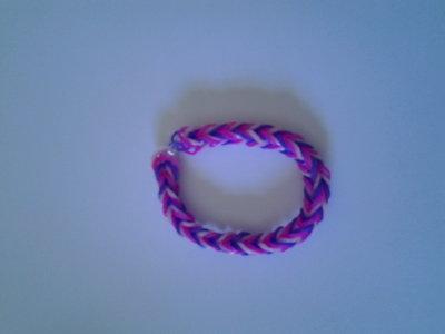 Braccialetto di elastici rosa, fucsia e viola