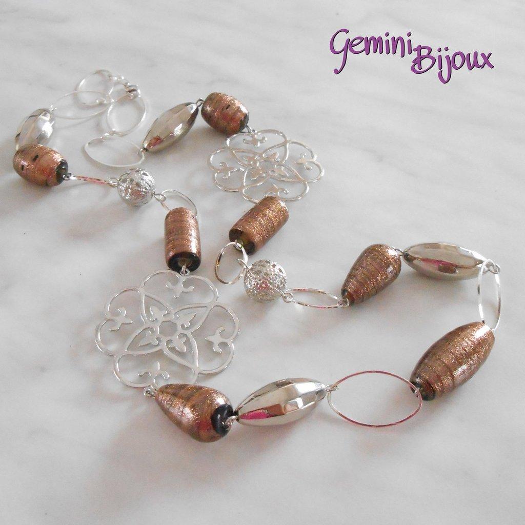 Collana perle bronze con avventurina e link argentati