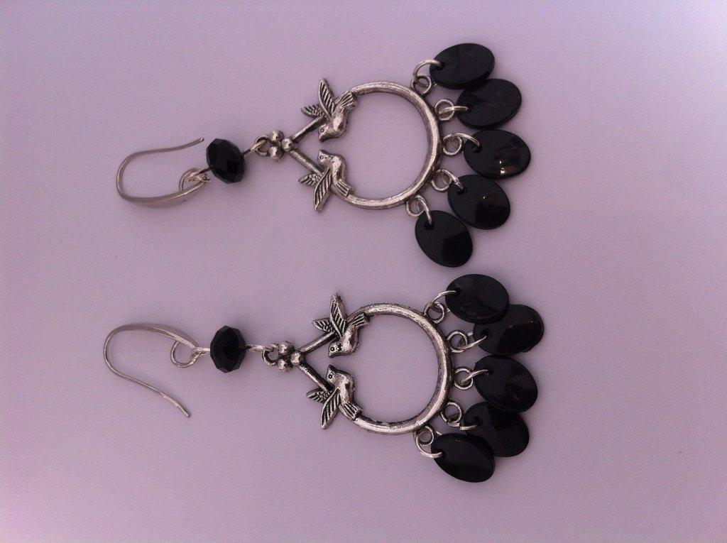 Orecchini nero metallo anticato