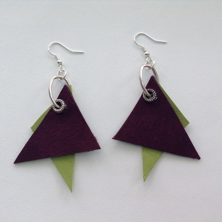 orecchini triangoli pelle