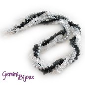 Collana corta torchon tre file nero, crystal, grey