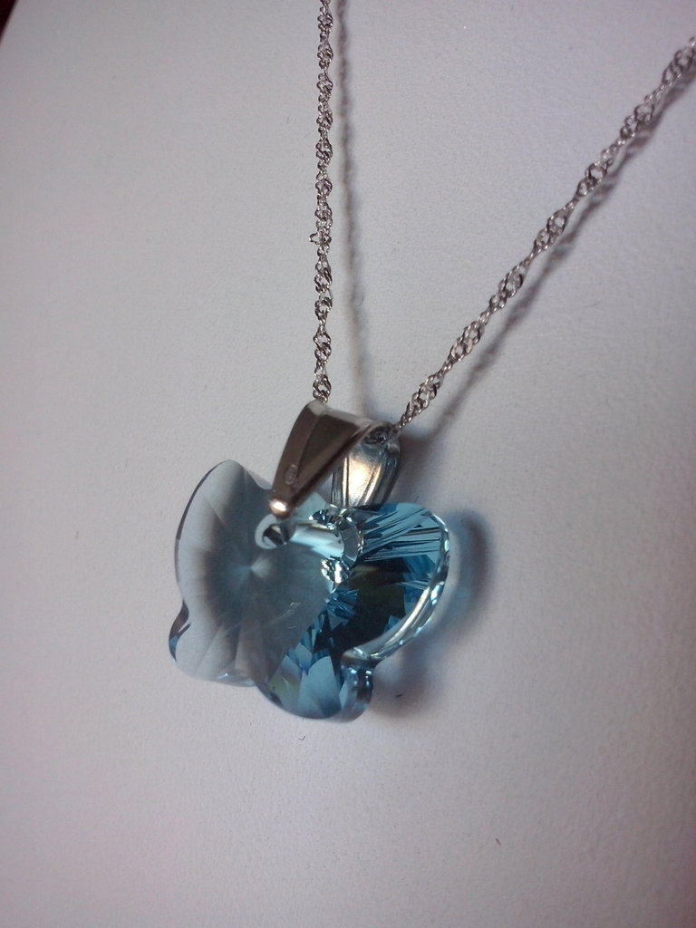 Collana argento 925 con farfalla swarovski blu cielo
