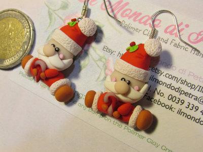 Orecchini Santa Claus Babbo Natale Feste Fimo