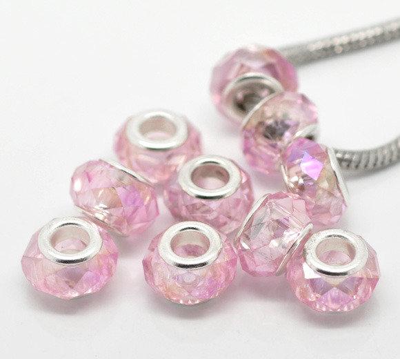 perla sfaccettatta in vetro cristallo rosa AB foro largo