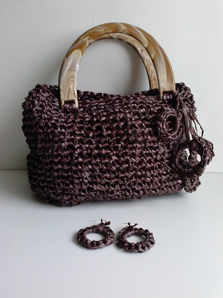 BORSA IN RAFIA MARRONE