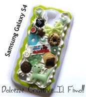 Cover  Samsung Galaxy S4 - Bianca con succo di mela panna, gatto, dolci, caramelle, cioccolato, caramelle