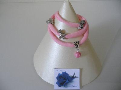Bracciale Moda in Fettuccia Rosa