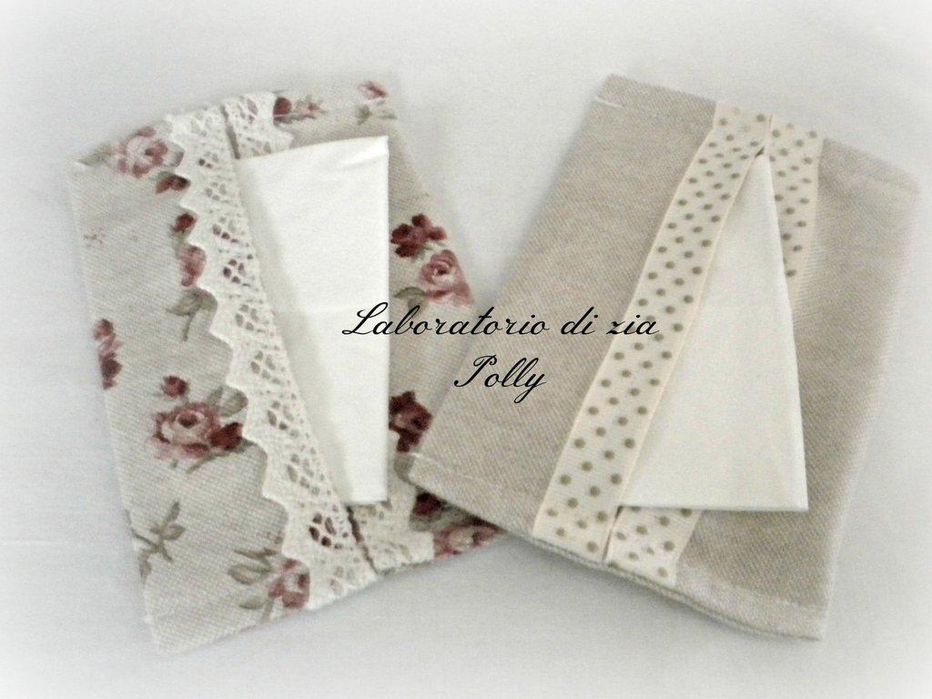 Porta fazzolettini di carta in tessuto panamino