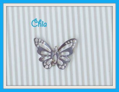 2 farfalle in metallo 27x20mm