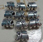 50% DI SCONTO - 10 perline Elefanti Foro Grande Argento Tibetano - M 83