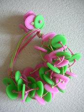 "Bracciale ""green&pink pois"""