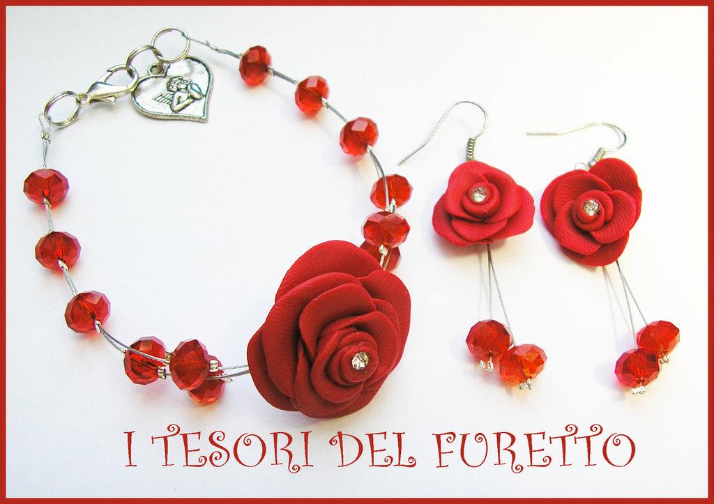 """Parure """"Rose rosse """" Fimo cernit kawaii elegante perle cristalli"""