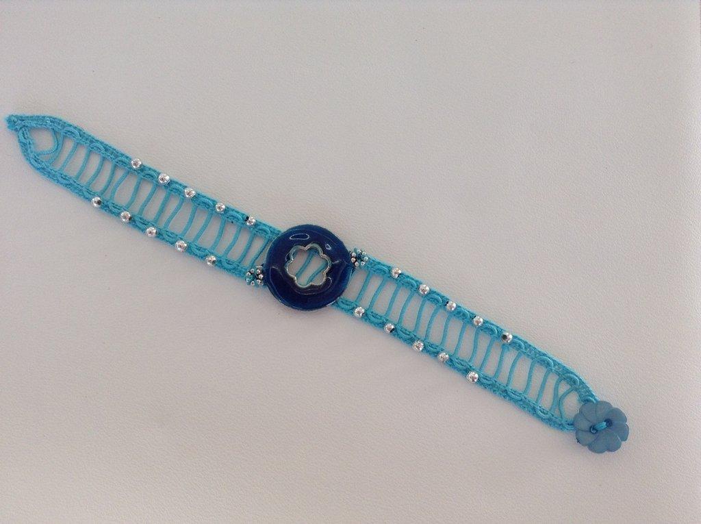 bracciale in fettuccia azzurra