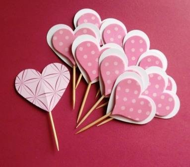 Muffin e CupCake Toppers^^ - Decorazioni per Dolci - Set Cuori Sweet Pois^^ (lotto 10pz)