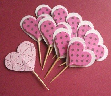 Muffin e CupCake Toppers^^ - Decorazioni per Dolci - Set Cuori Pink Pois^^ (lotto 10pz)