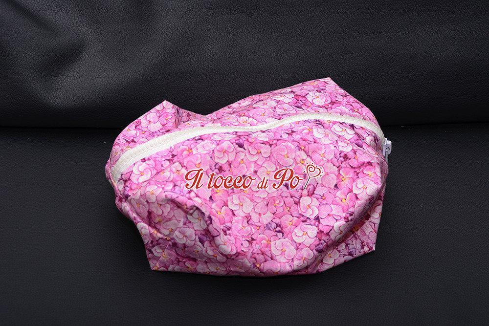 Beauty case, pochette, porta tutto in stoffa con cerniera fantasia ortensia